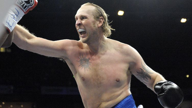"Finland's Robert Helenius lands a punch during his fight against Great Britain's Dereck Chisora during their heavyweight class European Championship professional boxing match at the ""Night of the Heavyweights"" event in Helsinki, Finland, on December 3rd, 2011."