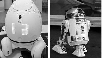 Kuin kaksi marjaa: Silbot virikerobotti ja  R2D2 Tähtien Sota -elokuvista.Vain Silbot on oikea robotti.