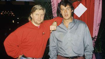 Pirkka-Pekka Petelius ja Aakke Kalliala tuottivat yhteistyönsä kulta-aikoina liudan ikimuistoisia sketsihahmoja.Kuva on vuodelta 1991.