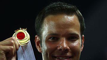 Tero Pitkämäki ja kultamitali, kuva: Michael Steele/Getty Images