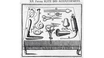 Brysselissä 1708 julkaistu kaiver- rus, joka esittää välskärin tai kirurgin työkalulaukkuun kuuluneita synnytyksen hoitoon liittyneitä välineitä. Kuvassa on myös kaksi ehkäisyvälinettä, rengasmainen ja päärynänmuotoinen, korkista valmistettu ja vahattu pessaari (I ja G). kuva wellcome images.
